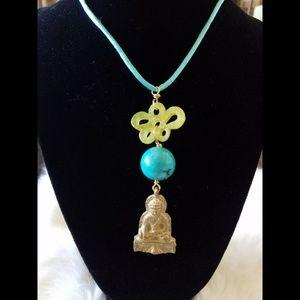 Jewelry - Jade Buddha Charm Silk Cord Boho Necklace